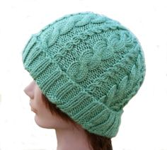 Cable Knit Hat  Cabled Knit Hat  Blue Cable Hat  by stayinstitches, $40.00  for Acrylic, $50.00 for Cotton, $55.00 for Wool
