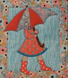 """Kits are ready for """"April Showers"""" our April Mini. In case you missed it, here is our March Mini, """"Go Fly A Kite. Vintage Quilts Patterns, Mini Quilt Patterns, Wool Applique Patterns, Paper Piecing Patterns, Applique Quilts, Block Patterns, Cute Quilts, Small Quilts, Mini Quilts"""