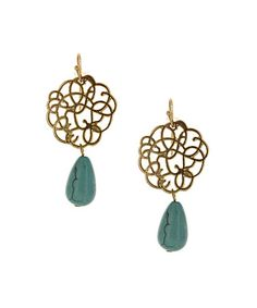 Look what I found on #zulily! Matte Gold & Turquoise Cutout Teardrop Bead Earrings by Olivia Welles Jewelry #zulilyfinds