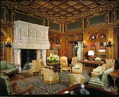 """The Breakers is the grandest of Newport's summer """"cottages"""" and a symbol of the Vanderbilt family's social and financial preeminence. The Breakers Newport, Fireplace Accent Walls, Palace Interior, New England States, Newport Rhode Island, Old Mansions, Grand Homes, House Blueprints, Gilded Age"""