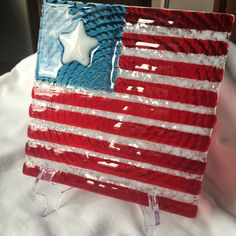Long May It Wave Patriotic Decor Accent by ArdithsQuestGlass Slumped Glass, Fused Glass Plates, Fused Glass Art, Glass Dishes, Mosaic Glass, Stained Glass, Glass Craft, Art Of Glass, Glass Fusion Ideas