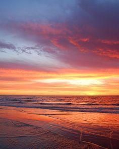 Beach Photography, Sunset Photography, Nature Photography, Ocean, Clouds, Sand, Light, Orange, Purple, 8 x 10 Fine Art Photography