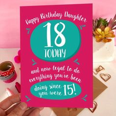 New Daughter Card! It's legal now! Happy Birthday Daughter, Birthday Cards, 18th, Handmade Gifts, Etsy, Bday Cards, Kid Craft Gifts, Craft Gifts, Birthday Greetings