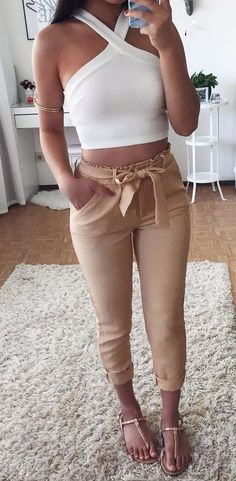 summer outfits  White Crop + Nude Skinny Pants