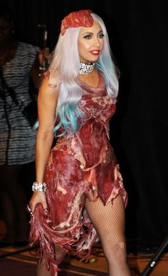 Meat dress?! Lady Gaga, that is not courage. That is an epic fail no matter what the cause is!