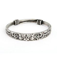 Sterling Silver Jewelry - Swirling Lotus Bali Bangle Bracelet