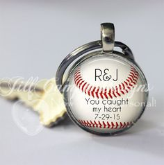 Personalized BASEBALL keychain You Caught My by NowThatsPersonal