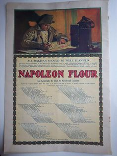1910 Vintage Napoleon Flour Writing by Punched Tin Lantern Color Ad