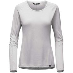 The North Face Women's LS Flashdry Top (125 BRL) ❤ liked on Polyvore featuring activewear, activewear tops, tnf light grey heather, tail activewear and the north face