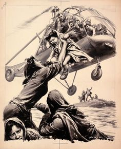 Original plate, sized 34 x 28 cm, of the first page of Domenica del Corriere, Illustration by Walter Molino Pulp Fiction Art, Pulp Art, Action Painting, Drame, Civil War Photos, Magazines For Kids, Aviation Art, Dark Fantasy Art, Military Art