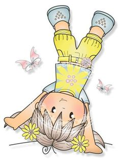 Digital (Digi) Cartwheel Jodie  Stamp, Little Girl