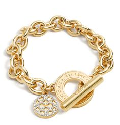 Classic Coach Pave Disc and Toggle Bracelet in gold