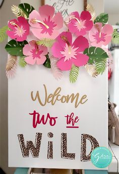 DIY welcome to the wild sign with pink paper flower craft Welcome everyone! I just celebrated my youngest daughter's birthday, and I really enjoyed creating this theme for my baby girl! (Note: This post may contain affiliate links. I make a smal… 2nd Birthday Party For Girl, Jungle Theme Birthday, Second Birthday Ideas, Birthday Themes For Girls, Paris Birthday, Spa Birthday, Moana Birthday Party Ideas, Kids Party Themes, Frozen Birthday