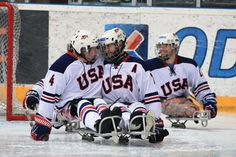 Taylor Lipsett and Alex Salamone makes the U. National Sled Hockey Team a force to be reckoned with heading into the 2014 Paralympic Winter Games in Sochi, Russia. Usa Hockey, Hockey Teams, Hockey Players, Ice Sled, Sledge Hockey, Adaptive Sports, Ice Ice Baby, Winter Games, Real Hero