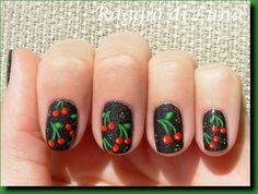 Cherry Nail Art, Fruit Nail Art, Fingernail Designs, Nail Art Designs, All Things Beauty, Beauty Make Up, Book Nail Art, Nailart, Nail Ideas