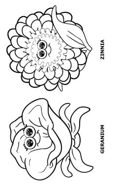 Even more Flower Friends Coloring Page or puppets page.