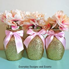 """3 Beautiful Gold Glitter Glass 7"""" Jardin Vases with a Light Pink Ribbon Around the vase neck (color intensity may appear brighter in person). The vases in this particular listing are decorated in glit"""