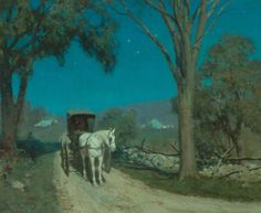 Victor Coleman Anderson (American 1882-1937) Moonshine oil on canvas. 25 X 30 in.  Underpaintings