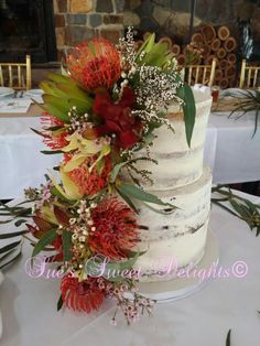 Semi naked wedding cake. - Cake by Sue's Sweet Delights