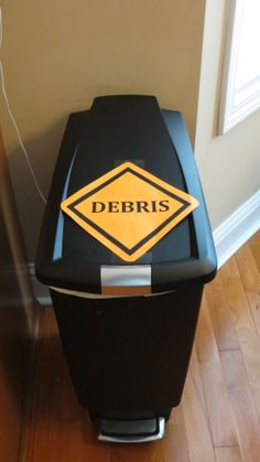 You can even label the trash cans to match your construction theme classroom dec. Construction For Kids, Construction Birthday Parties, 4th Birthday Parties, Birthday Fun, Construction Party Decorations, Digger Birthday, Construction Business, Construction Design, Construction Theme Classroom