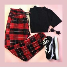Plaid red pants, sneakers - You can find Teen fashion outfits and more on our website. Cute Comfy Outfits, Cute Casual Outfits, Edgy Outfits, Mode Outfits, Retro Outfits, Grunge Outfits, Fall Outfits, Vintage Outfits, Teen Fashion Outfits