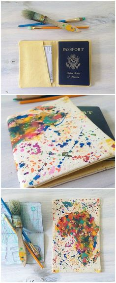 splatter art passport cover. great gift for any traveler!