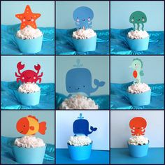 Under the Sea cupcake toppers...adorable! I can totally make these'