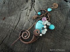 Copper seahorse brooch Wire wrapped by SpiritofNatureCrafts