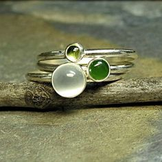 Sweet set of spring green for your finger - Rain Forest Stacking Set of 3    ...from Lavender Cottage Jewelry