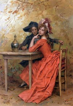 The Lady In Red -  Frederik Hendrik Kaemmerer (Dutch, 1839 - 1902)