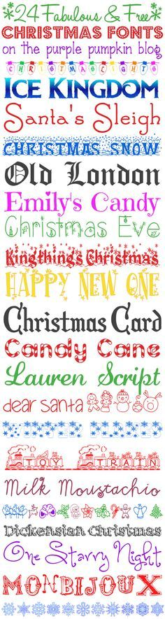 "24 Fabulous and FREE Christmas Fonts for all your Christmas and Festive Projects!!  ~~ {w/ easy download links -- ""Ice Kingdon"" is a great font for ""Frozen"" themed projects!}"