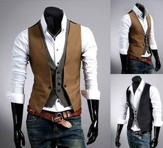 UK Style New mens slim fit double layered design casual waistcoat vest 3size