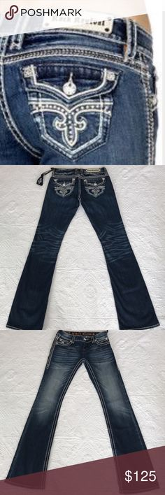 """Rock revival Noelle jeans Brand new with tag. Rise 7.5"""", inseam 34.5"""", waist measures 32"""" around laying flat. 98% cotton 2% elastane. No trades  Rock Revival Jeans Boot Cut"""