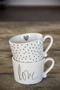 Bastion Collections Mug White/Little dots in Grey - Painted Mugs, Hand Painted Ceramics, Kitchenware, Tableware, Cute Mugs, Mug Cup, Mug Designs, Ceramic Pottery, Dinnerware