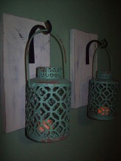 Distressed Turquoise Hanging LANTERN SET Pair on Wood Board Wrought iron hooks Wall Sconce Rustic Lantern Bathroom Bedroom Decor Wall Decor by RusticPleasures on Etsy