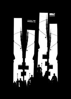 Shadow Parade by Fan Ho, 1965 Fan Ho, Shanghai, Hong Kong, San Jose, Fine Art Photography, Street Photography, Geometric Construction, Art Chinois, Great Photographers