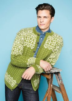 Gorgeous men's Sandnes Telemark knitted cardigan pattern. Available as an email download in English from SKD Yarns. Also available as part of the printed Tema 50 pamphlet from Sandnesgarn. #knit #Norwegian #knitting #pattern #sandnesgarn #sandnes #stranded #Telemark