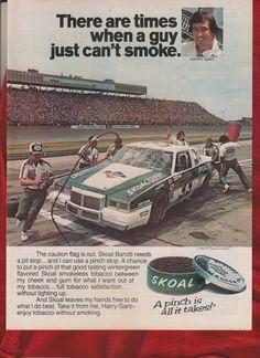 1982 NASCAR Driver Harry Gant & Bandit photo Skoal Tobacco promo print ad