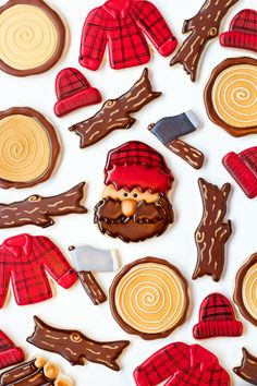 Decorating sugar cookies with royal icing to make these lumberjack cookies is very simple if you follow this step by step tutorial.