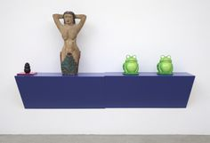 Haim Steinbach, the bather, Plastic laminated wood shelf; painted wood mermaid statue, 58 x 100 x 18 in. x 254 x cm) Arlene Shechet, Grayson Perry, Contemporary Art Daily, Dog Chews, Wood Shelves, Art Blog, Painting On Wood, Objects, Mermaid Statue