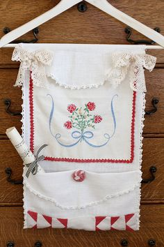Vintage Linen Wall Hanging by inhis2hands on Etsy
