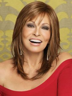 Long Bob with Layers   Long Layered Bob With Side Swept Bangs Raquel welch - star quality