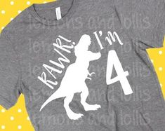 Check out our birthday svg selection for the very best in unique or custom, handmade pieces from our shops. 4 Year Old Boy Birthday, Family Birthday Shirts, Birthday Themes For Boys, Fourth Birthday, Dinosaur Birthday Party, 4th Birthday Parties, Baby Birthday, Birthday Ideas, T Rex