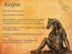 Kelpie Profile - Mythology Art