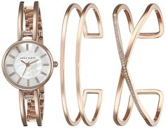 Anne Klein Women's AK/2236RGST Three-Piece Watch and Bracelet Set with Swarovski Crystal Accents ** Want to know more about the watch, click on the image.