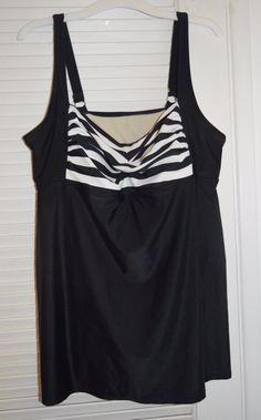 AVA & VIV Black White Striped One-Piece Skirt Swimsuit Padded Bra, Plus 20W 2x #AvaViv #OnePiece