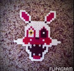 Mangle Fnaf Perler/Hama Bead Nerd Crafts, Diy And Crafts, Arts And Crafts, Melt Beads Patterns, Beading Patterns, Pearler Beads, Fuse Beads, Scary Games, Melting Beads