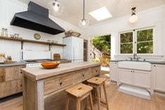modern rustic kitchen island with additional drawer units and wood chairs shabby but cool wood kitchen cabinets single wood shelf over countertop white cabinets with farmhouse sink of Tens of Inspiring Kitchen Islands with Storage and Chairs