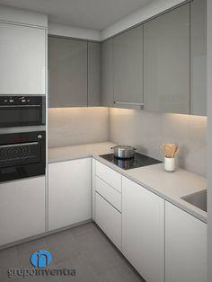 Cocina distribuida en L: Cocinas de estilo moderno de Grupo Inventia Modern Kitchen Cabinets, Kitchen Cabinet Design, Kitchen Layout, Interior Design Kitchen, Kitchen Sets, Home Decor Kitchen, New Kitchen, Home Kitchens, Küchen In U Form