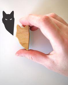 Wooden Handled Peeping Tom Cat Stamp 2 by jolyonyates on Etsy, $16.95